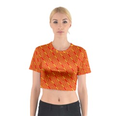 Orange Pattern Background Cotton Crop Top