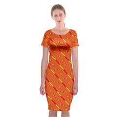 Orange Pattern Background Classic Short Sleeve Midi Dress