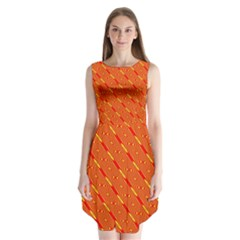 Orange Pattern Background Sleeveless Chiffon Dress