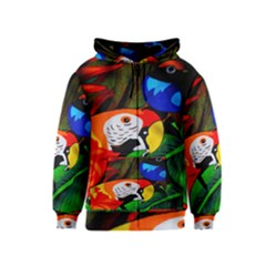 Papgei Red Bird Animal World Towel Kids  Zipper Hoodie