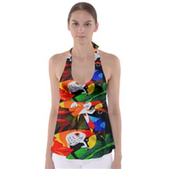 Papgei Red Bird Animal World Towel Babydoll Tankini Top