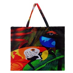 Papgei Red Bird Animal World Towel Zipper Large Tote Bag