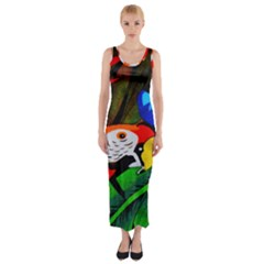 Papgei Red Bird Animal World Towel Fitted Maxi Dress