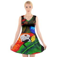 Papgei Red Bird Animal World Towel V Neck Sleeveless Skater Dress