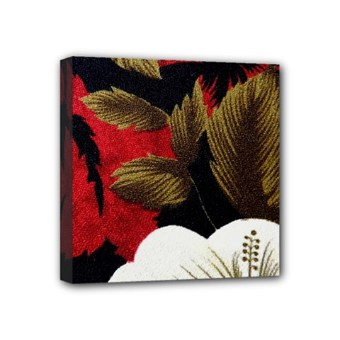 Paradis Tropical Fabric Background In Red And White Flora Mini Canvas 4  x 4