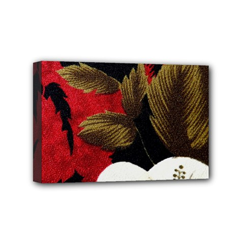Paradis Tropical Fabric Background In Red And White Flora Mini Canvas 6  x 4