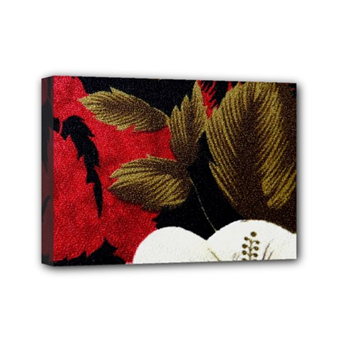 Paradis Tropical Fabric Background In Red And White Flora Mini Canvas 7  x 5