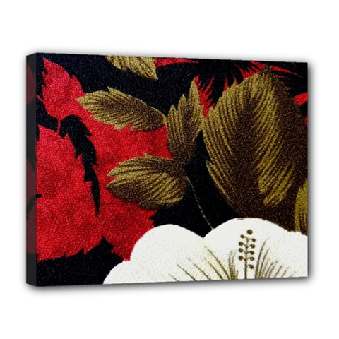 Paradis Tropical Fabric Background In Red And White Flora Canvas 14  x 11