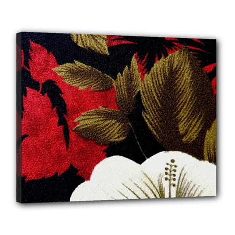Paradis Tropical Fabric Background In Red And White Flora Canvas 20  x 16