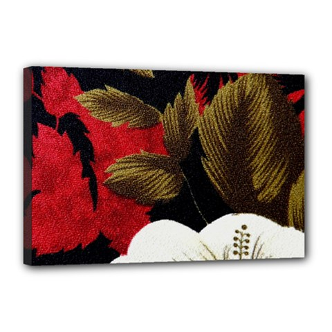 Paradis Tropical Fabric Background In Red And White Flora Canvas 18  X 12