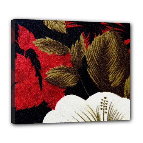 Paradis Tropical Fabric Background In Red And White Flora Deluxe Canvas 24  x 20