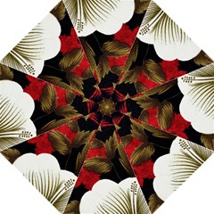 Paradis Tropical Fabric Background In Red And White Flora Hook Handle Umbrellas (medium)