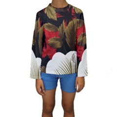 Paradis Tropical Fabric Background In Red And White Flora Kids  Long Sleeve Swimwear