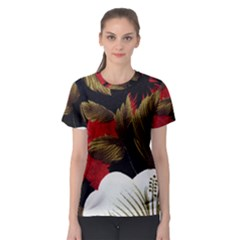 Paradis Tropical Fabric Background In Red And White Flora Women s Sport Mesh Tee