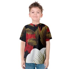 Paradis Tropical Fabric Background In Red And White Flora Kids  Cotton Tee