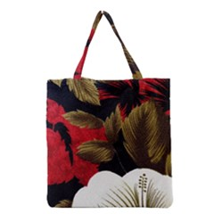 Paradis Tropical Fabric Background In Red And White Flora Grocery Tote Bag