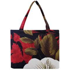 Paradis Tropical Fabric Background In Red And White Flora Mini Tote Bag