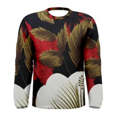 Paradis Tropical Fabric Background In Red And White Flora Men s Long Sleeve Tee