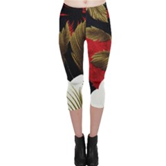 Paradis Tropical Fabric Background In Red And White Flora Capri Leggings