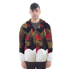 Paradis Tropical Fabric Background In Red And White Flora Hooded Wind Breaker (Men)