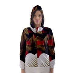 Paradis Tropical Fabric Background In Red And White Flora Hooded Wind Breaker (Women)