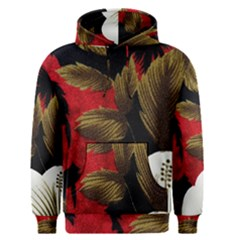 Paradis Tropical Fabric Background In Red And White Flora Men s Pullover Hoodie