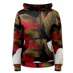 Paradis Tropical Fabric Background In Red And White Flora Women s Pullover Hoodie