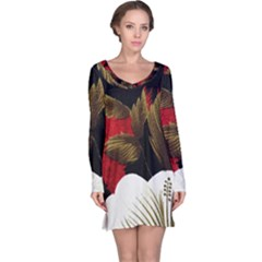 Paradis Tropical Fabric Background In Red And White Flora Long Sleeve Nightdress