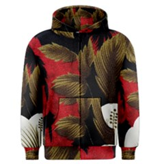 Paradis Tropical Fabric Background In Red And White Flora Men s Zipper Hoodie