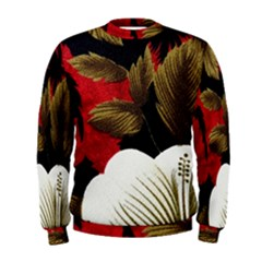 Paradis Tropical Fabric Background In Red And White Flora Men s Sweatshirt