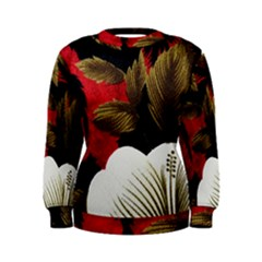 Paradis Tropical Fabric Background In Red And White Flora Women s Sweatshirt