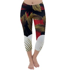 Paradis Tropical Fabric Background In Red And White Flora Capri Winter Leggings