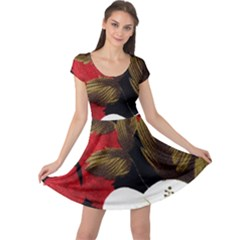 Paradis Tropical Fabric Background In Red And White Flora Cap Sleeve Dresses