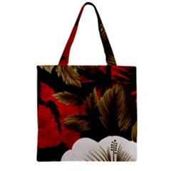 Paradis Tropical Fabric Background In Red And White Flora Zipper Grocery Tote Bag