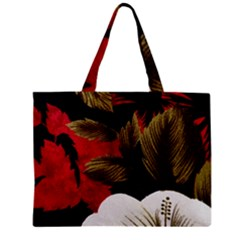 Paradis Tropical Fabric Background In Red And White Flora Zipper Mini Tote Bag