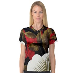 Paradis Tropical Fabric Background In Red And White Flora Women s V-Neck Sport Mesh Tee
