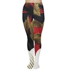 Paradis Tropical Fabric Background In Red And White Flora Women s Tights