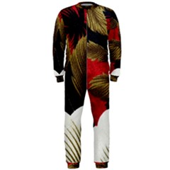 Paradis Tropical Fabric Background In Red And White Flora Onepiece Jumpsuit (men)