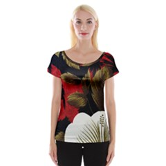 Paradis Tropical Fabric Background In Red And White Flora Women s Cap Sleeve Top