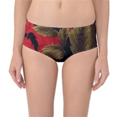 Paradis Tropical Fabric Background In Red And White Flora Mid-Waist Bikini Bottoms