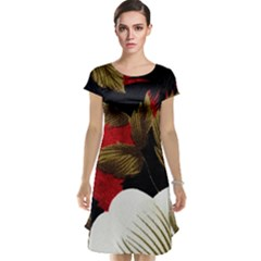Paradis Tropical Fabric Background In Red And White Flora Cap Sleeve Nightdress