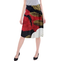 Paradis Tropical Fabric Background In Red And White Flora Midi Beach Skirt