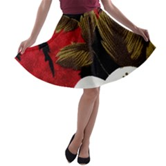 Paradis Tropical Fabric Background In Red And White Flora A-line Skater Skirt