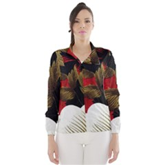 Paradis Tropical Fabric Background In Red And White Flora Wind Breaker (women)