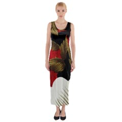 Paradis Tropical Fabric Background In Red And White Flora Fitted Maxi Dress
