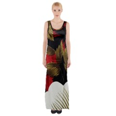Paradis Tropical Fabric Background In Red And White Flora Maxi Thigh Split Dress