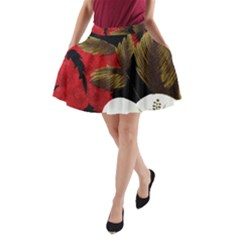 Paradis Tropical Fabric Background In Red And White Flora A-Line Pocket Skirt