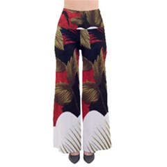 Paradis Tropical Fabric Background In Red And White Flora Pants