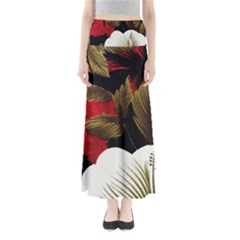Paradis Tropical Fabric Background In Red And White Flora Maxi Skirts