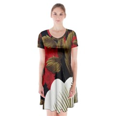 Paradis Tropical Fabric Background In Red And White Flora Short Sleeve V Neck Flare Dress